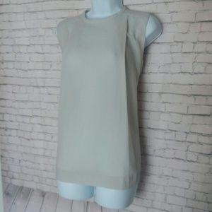 MARLAWYNNE cream pleated sleeveless top
